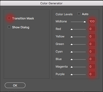 the color generator window with the color values highlighted