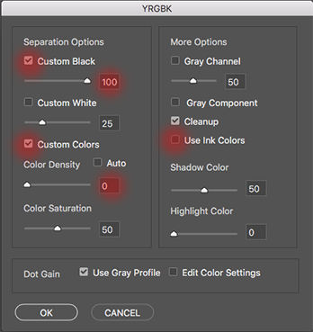 YRGBK settings with use ink colors highlighted