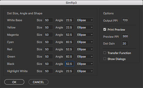 The SimRip interface with Print Preview selected.