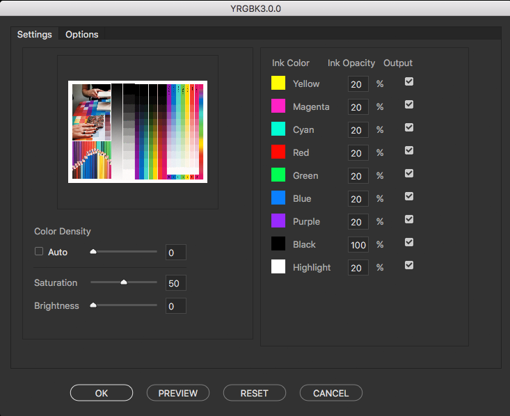 The Settings tab in the YRGBK color separation script